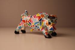 Spain bullfight Ceramic sculpture rainbow colored bull corrida de toros