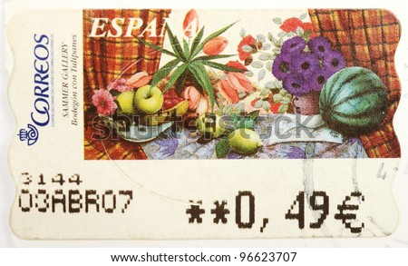 SPAIN - CIRCA 2004: a stamp from Spain shows a painting of fruits, exhibited in the Sammer Gallery, circa 2004