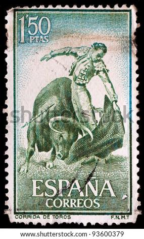 SPAIN - CIRCA 1960: A stamp printed by Spain, shows bullfight, circa 1964
