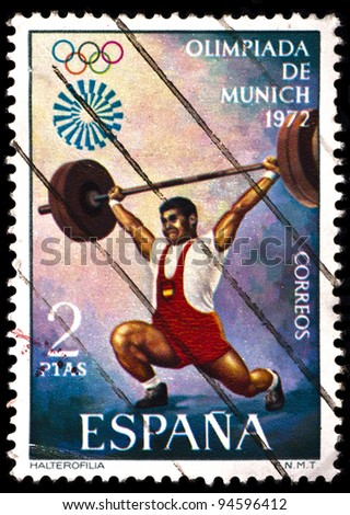 SPAIN - CIRCA 1972: A stamp printed by Spain, shows weightlifting on Olympics games in Munich on 1972, circa 1972