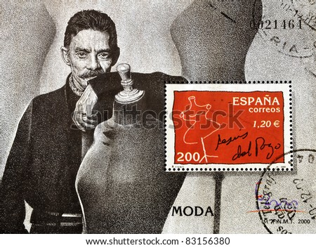 SPAIN - CIRCA 2000: A stamp printed in spain showing the famous Spanish designer Jesús del Pozo, circa 2000