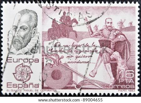 SPAIN - CIRCA 1983: A stamp printed in Spain shows Don Quixote by Miguel de Cervantes, circa 1983