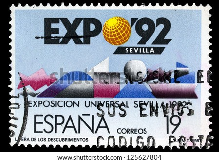 """SPAIN, CIRCA 1987: A stamp printed in Spain, shows Geometric Shapes, with inscription and name of series """"Expo 92, World Fair, Seville"""", circa 1987"""