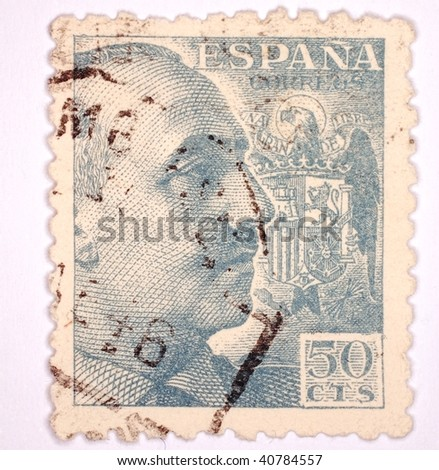 SPAIN - CIRCA 1957: A stamp printed in Spain shows image of Franco, series, circa 1957 - stock photo