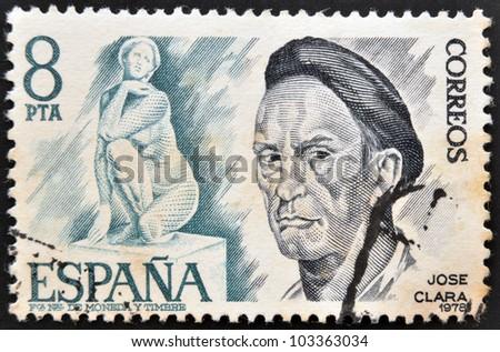SPAIN - CIRCA 1978: A stamp printed in spain shows Jose Clara and sculpture Goddess, Plaza Catalunya in Barcelona, circa 1978