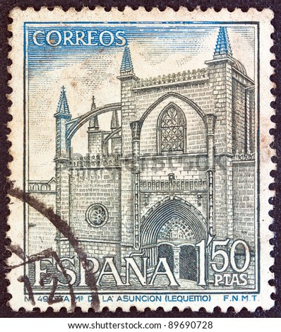 SPAIN - CIRCA 1970: A stamp printed in Spain shows Our Lady of the Assumption basilica, Lequeitio, circa 1970.