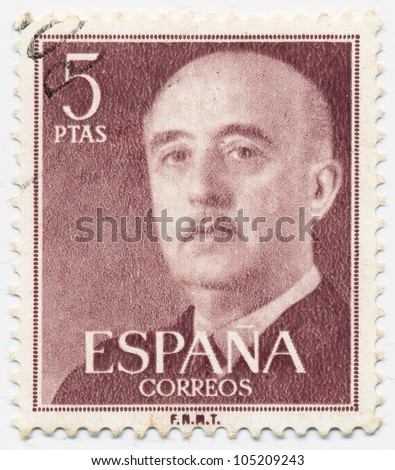 SPAIN - CIRCA 1955: A stamp printed in Spain shows portrait of General Francisco Franco (1892-1975), circa 1955