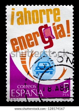 """SPAIN - CIRCA 1979: A stamp printed in Spain, shows """"Save Energy"""", circa 1979"""