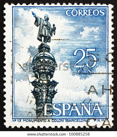 SPAIN - CIRCA 1965: a stamp printed in the Spain shows Columbus Monument, Barcelona, Christopher Columbus, Cristobal Colon, Explorer, Colonizer, Navigator, circa 1965
