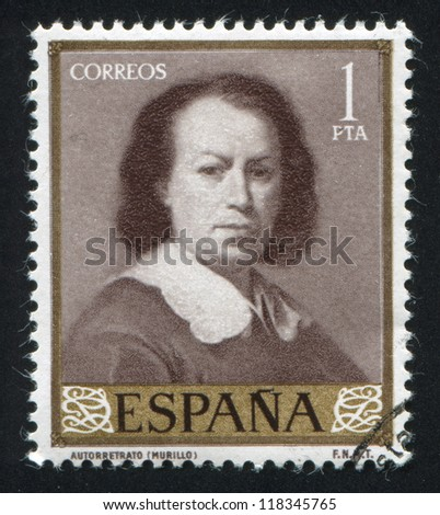 SPAIN - CIRCA 1960: stamp printed by Spain, shows Self Portrait by Murillo, circa 1960