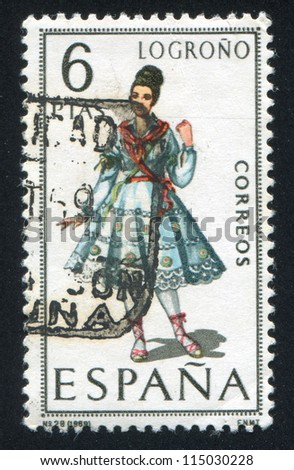 SPAIN - CIRCA 1968: stamp printed by Spain, shows woman Regional Costumes, circa 1968