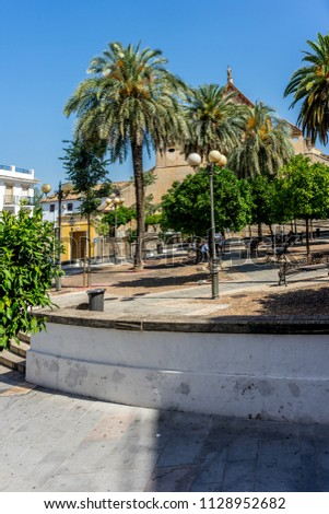 Spain, Cordoba, Europe,  PALM TREES BY SWIMMING POOL AGAINST SKY #1128952682