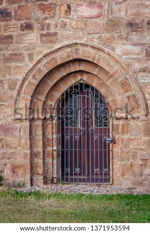 Spain. Door of the Collegiate Church of San Salvador de Cantamuda. Palencia