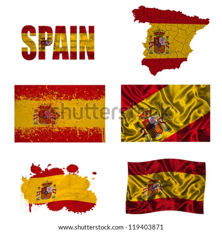 Spain flag and map in different styles in different textures - stock photo