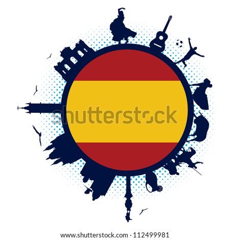 spain flag and silhouette landmarks
