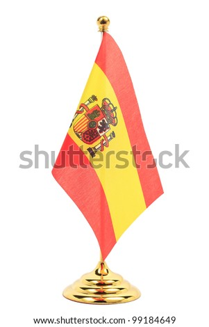 Spain flag hanging on the gold flagstaff, Isolated on the white background