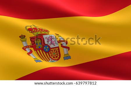 Spain Flag. Illustration of the Spain flag waving.