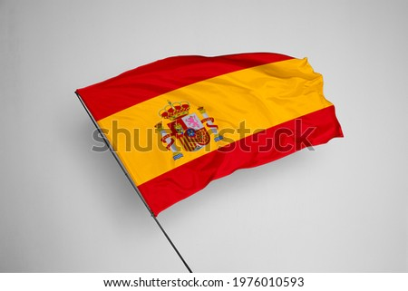 Spain flag isolated on white background with clipping path. close up waving flag of Spain. flag symbols of Spain. Spain flag frame with empty space for your text.