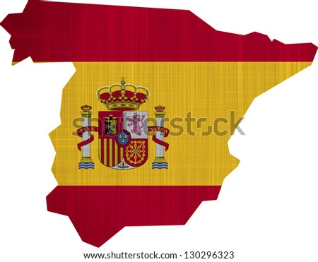 Spain Flag Map on a white background - stock photo