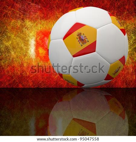 Spain flag on 3d football for Euro 2012 Group C