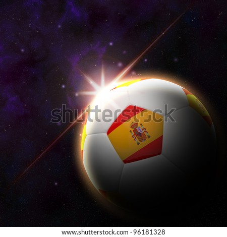 Spain flag on 3d football with rising sun illustration for Euro 2012 Group C