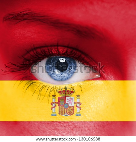 Spain flag painted on face