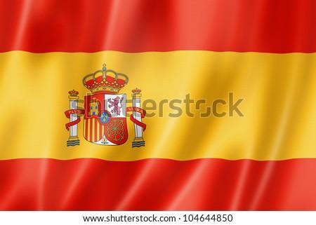 Spain flag, three dimensional render, satin texture