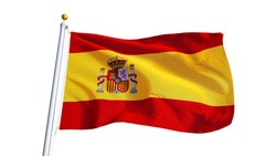 Spain flag waving on white background, close up, isolated with clipping path mask alpha channel transparency