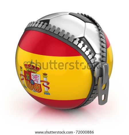 Spain football nation - football in the unzipped bag with Spanish flag print