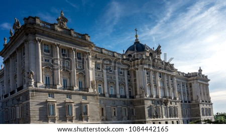 Spain, Madrid, Europe,  LOW ANGLE VIEW OF HISTORICAL BUILDING AGAINST CLOUDY SKY, LOW ANGLE VIEW OF HISTORICAL BUILDING AGAINST SKY,  #1084442165