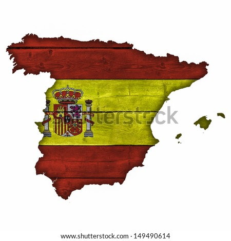 Spain Map And Flag On Wood