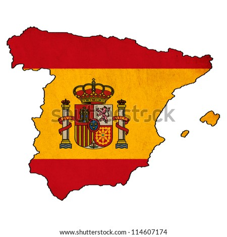 Spain map on Spain flag drawing ,grunge and retro flag series