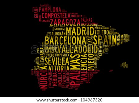 SPAIN map words cloud of major cities with a black background