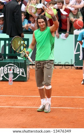 Spain's top tennis player Rafael Nadal greets public after his match at Roland Garros, French Open, Paris, France, 2008