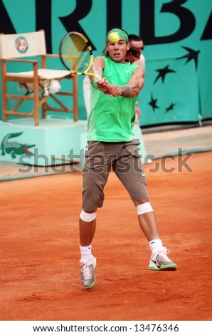 Spain's top tennis player Rafael Nadal plays at Roland Garros, French Open 2008, Paris, France