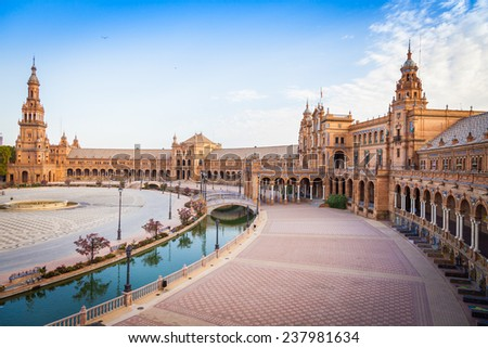 Spain, Seville. Spain Square, a landmark example of the Renaissance Revival style in Spanish architecture #237981634
