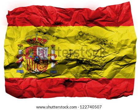Spain. Spanish flag  painted on crumpled paper