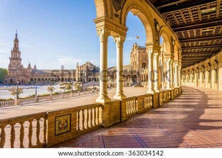 Photo of  Spain Square (Plaza de Espana), Seville, Spain, built on 1928, it is one example of the Regionalism Architecture mixing Renaissance and Moorish styles.
