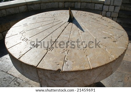 Spain. Tarragona. Ancient sundial on a Stone platform