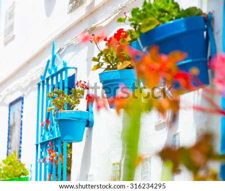 Spain, Torremolinos. Costa del Sol, Andalucia. Typical White Village with flower pots in facades at Spain. Beautiful street decorated with flowers in Spain. Tourism concept