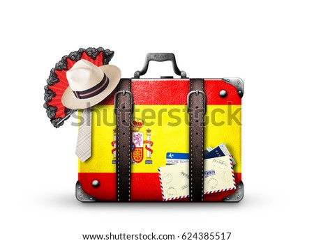 Spain, vintage suitcase with Spanish flag - Shutterstock ID 624385517