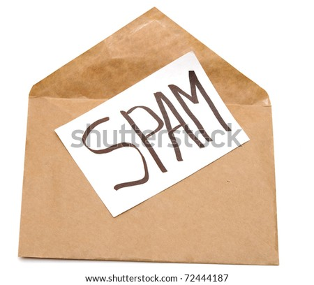 spam mail or e-mail concept with word on envelope