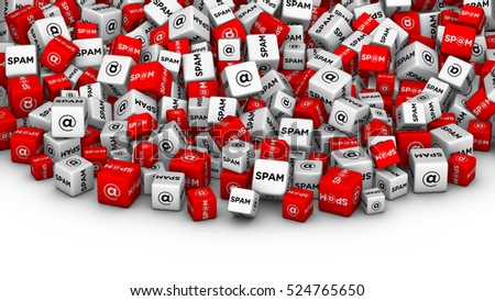SPAM SPAM SPAM! E-mail spamming 3D illustration. A lot of cubes with spam word and email symbol.