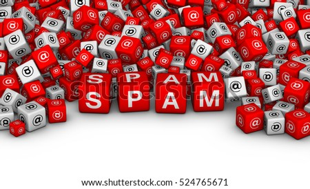 SPAM SPAM SPAM!. E-mail spamming 3D illustration. A lot of cubes with spam word and email symbol.
