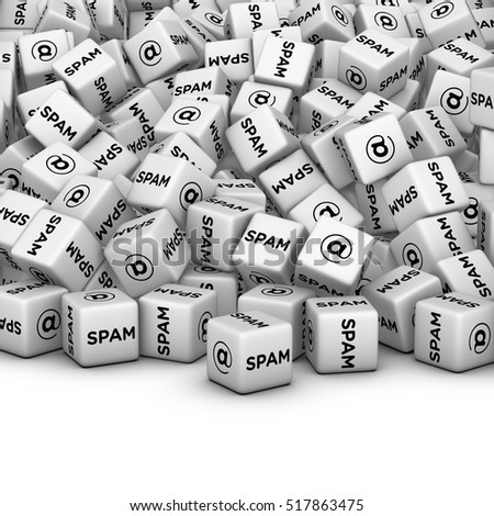 SPAM SPAM SPAM SPAM SPAM! Internet Marketing Concept. E-mail spamming 3D illustration. A lot of cubes with spam word and email symbol.
