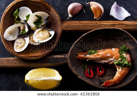 Spanish and Portuguese seafood tapas