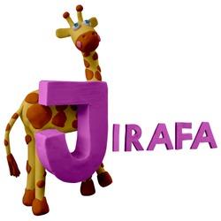 "Spanish animals alphabet ABC handmade with plasticine. ""J"" letter with giraffe. Jirafa. Isolated on white background – Image"