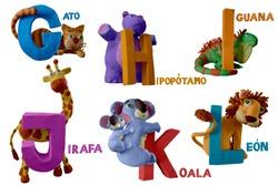 "Spanish animals alphabet handmade with plasticine. ""G, H, I, J, K, L"" letter with cat, hippopotamus, iguana, giraffe, koala and lion, . Isolated on white background – Image"