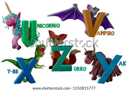 "Spanish animals alphabet handmade with plasticine. ""U, V, X, Y, Z"" letter with unicorn, vampire, t-rex, yak and fox . Isolated on white background – Image Stok fotoğraf ©"