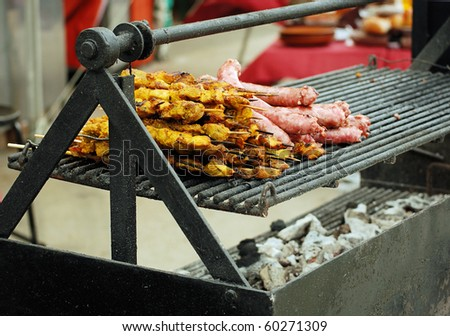 spanish barbecue at fair in barcelona